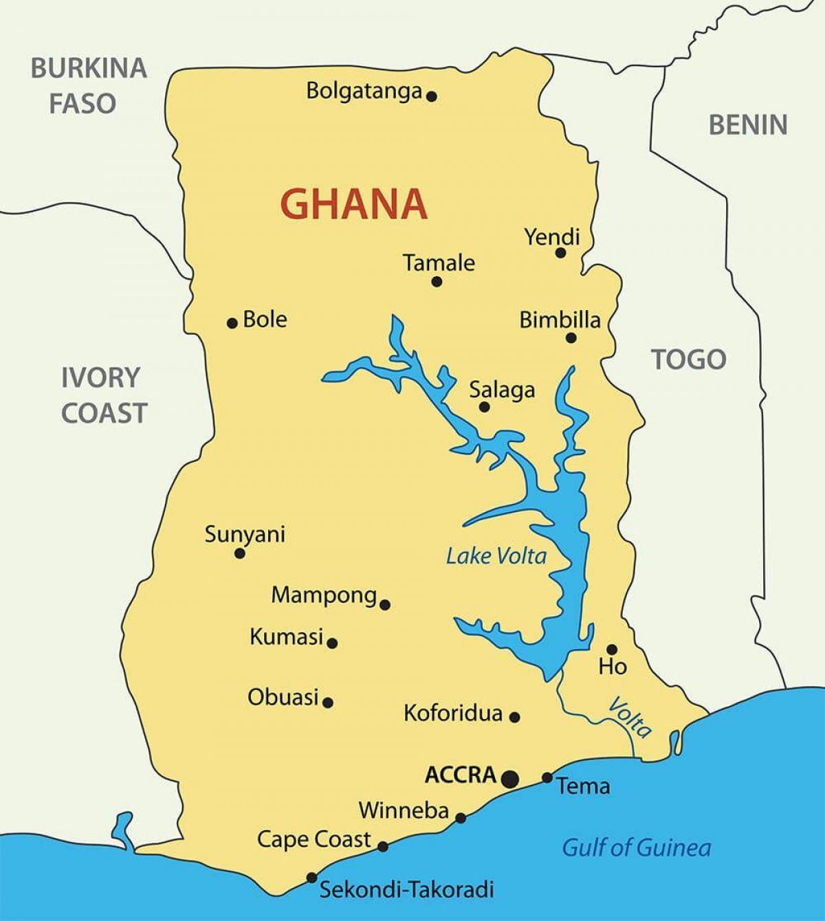 Ghana Borgir Kort Ghana Kort Med Borgir Vestur Afriku Afriku
