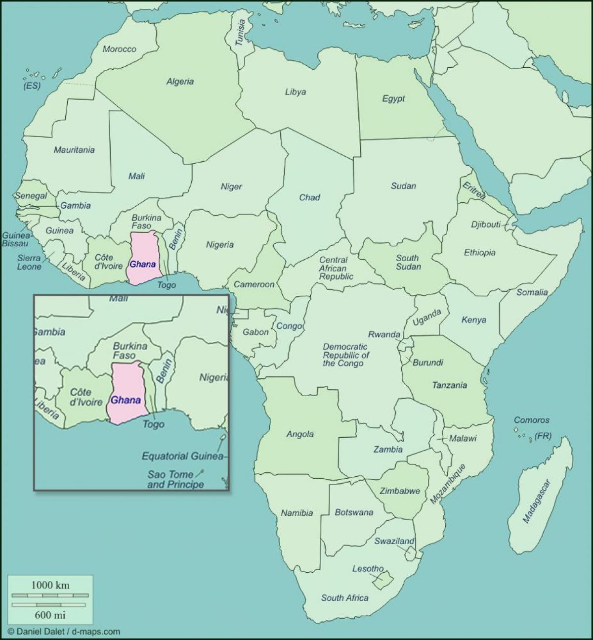 Kort Af Ghana Og Naerliggjandi Londum Kort Af Ghana Og