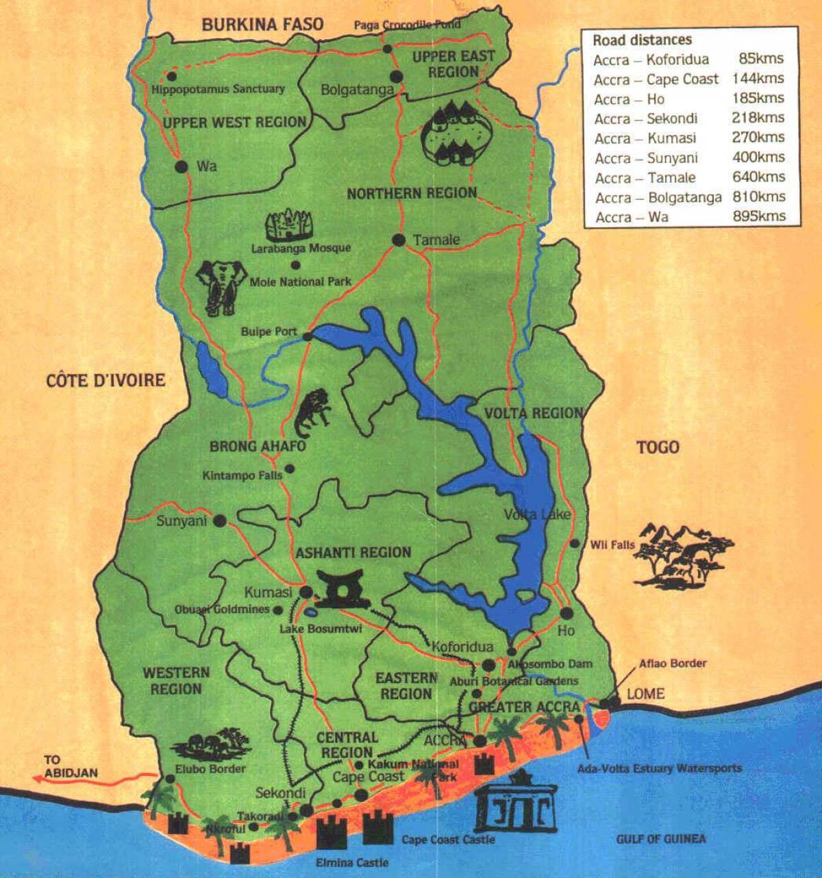 Mynd Af Ghana Kort Kort Af Mynd Af Ghana Vestur Afriku Afriku