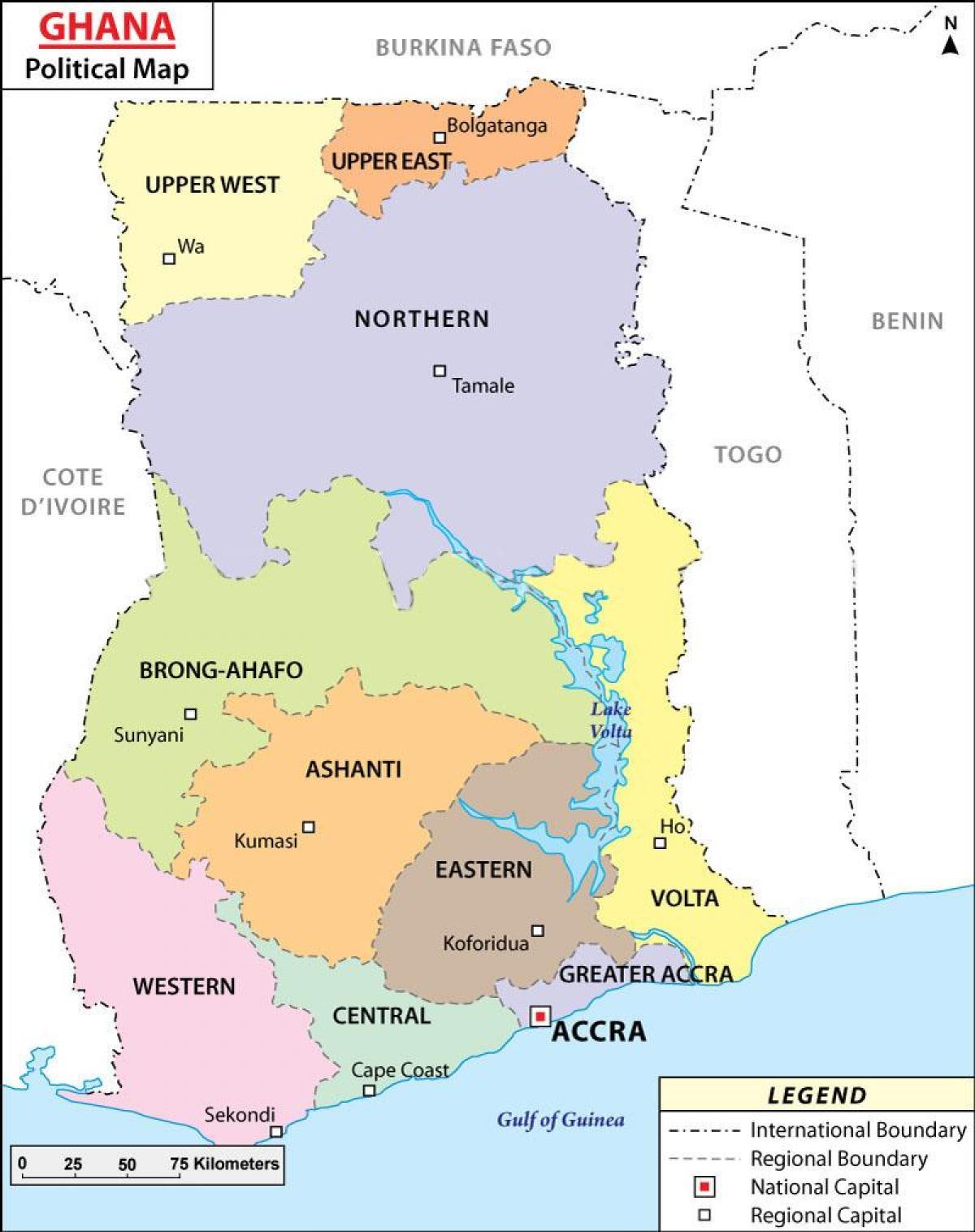 Politisk Kort Af Ghana Kort Af Politiskum Ghana Vestur Afriku