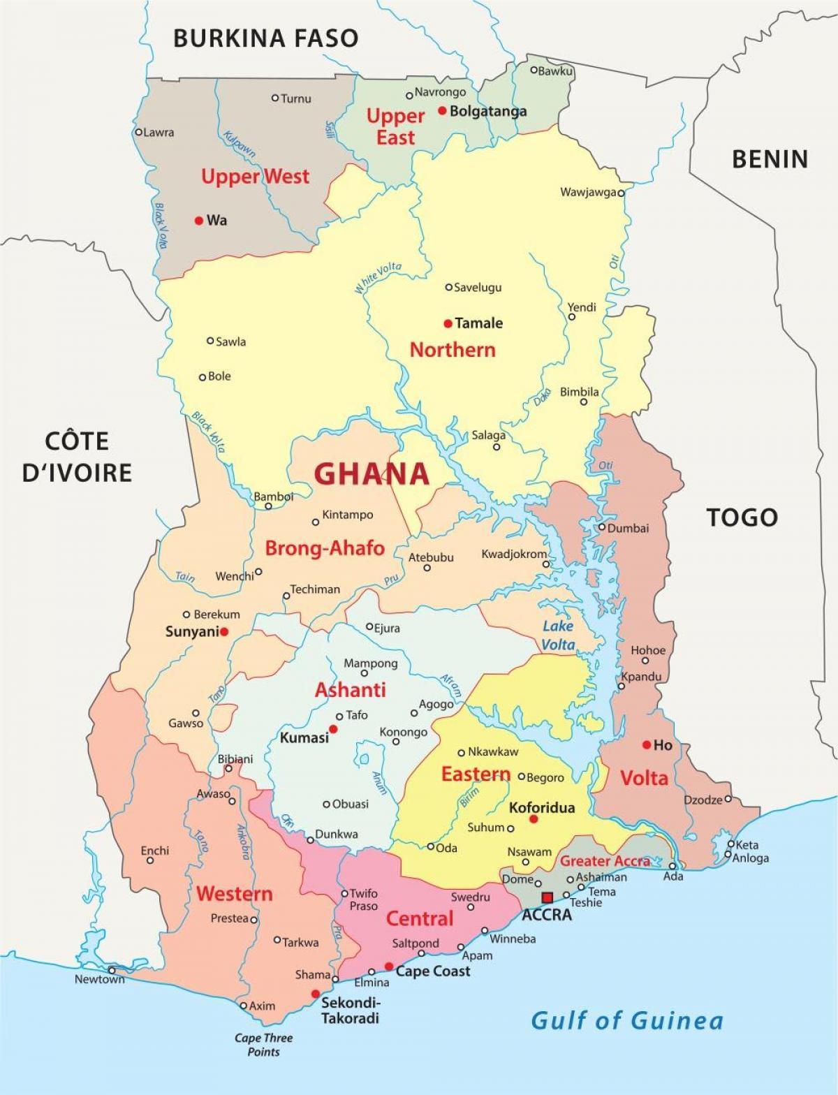 Umdaemi Kort Af Ghana Kort Af Ghana Ad Syna Hverfa Vestur Afriku